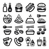 Fast food and junk food flat icons. Black Royalty Free Stock Photo