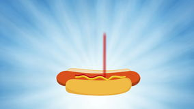 Fast food - junk food like burgers, fries and hotdogs in an animated motion graphic background stock footage
