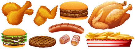 Fast food junk on white Royalty Free Stock Photography