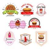 Fast food kawiarnia, pizzeria, ciasto sklepu odznaki set ilustracji