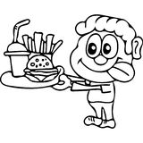 Fast food kids coloring pages Royalty Free Stock Images