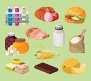 Fast food, kiełbasy, ciężcy foods, szybcy węglowodany, uwędzony foo royalty ilustracja