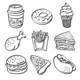 Fast food kolekcja ilustracja wektor