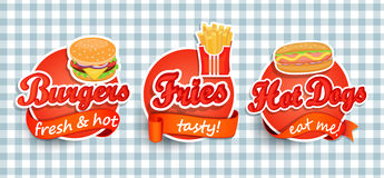 Fast food label. Fast food Label or Sticer - burgers, pizza, hot dog, fries - Design Template. Vector illustration Stock Images