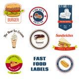 Fast food labels set Stock Image