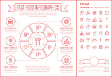 Fast Food Line Design Infographic Template Stock Images