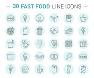 Fast Food Line Icons. 30 Fast food line icons in circles Royalty Free Stock Image