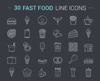 Fast Food Line Icons. 30 Fast food line icons on dark background Royalty Free Stock Images