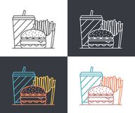Fast Food Line Icons Royalty Free Stock Photo