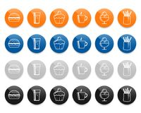 Fast food line vector icons set Stock Photo