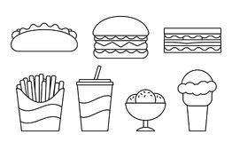 Fast food linear icons in flat design. Vector illustration. Fast food line icons. Vector. Set unhealthy meal in flat design. Linear restaurant snacks isolated Royalty Free Stock Photography