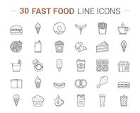 Fast Food Line Icons. 30 Fast food line icons on white background Stock Photos