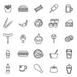Fast food line icons on white background. Stock vector Royalty Free Stock Photo