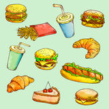 Fast food - linear drawing. Royalty Free Stock Photos