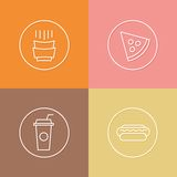 Fast food linear icons set 01 Royalty Free Stock Images
