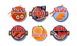Fast food logo set, sushi, barbecue, burger badges vector Illustration on a white background royalty free illustration