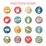 Fast food long shadow icons Royalty Free Stock Photos