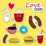 Fast food love stickers. Stock Photography