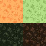 Fast food low poly seamless patterns. Light and dark, 4 variations. vector illustration