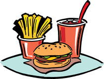 Fast Food Lunch. Fat Food Lunch with hamburger, fries and coke Stock Photo