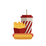Fast food lunch in flat design Royalty Free Stock Photo