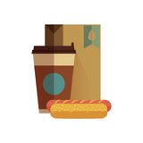 Fast food lunch in flat design. Hot dog with coffee in flat design Stock Photo