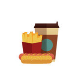 Fast food lunch. With french fries, hot dog and coffee takeaway in flat design Stock Photo
