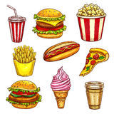 Fast food lunch takeaway dishes isolated sketch. Fast food lunch takeaway dishes icon set. Hamburger, hot dog, pizza, coffee and soda drinks, cheeseburger royalty free illustration