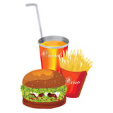 Fast food meal. A set of fast food meal.  Burger, French fries and Coke/Juice.  Colorful Illustration Royalty Free Stock Image
