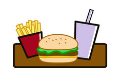 Fast food meal. A fast food meal of burger , fries and drink Royalty Free Stock Photo