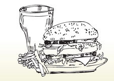 Fast food meal drawing. Hand drawn illustration of double cheese burger, chips and coke Royalty Free Stock Photos