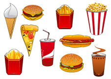 Fast food with meal and drinks Royalty Free Stock Photo