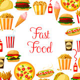 Fast food meal, drinks, dessert and snacks poster Royalty Free Stock Image
