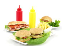 Fast food meal of hamburger Royalty Free Stock Photography