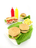 Fast food meal of hamburger Stock Photography