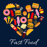 Fast food meal in heart shape symbol Royalty Free Stock Photos