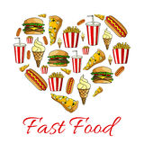 Fast food meal of heart symbol. Vector poster Stock Photos