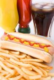 Fast food meal with hotdog Royalty Free Stock Photo