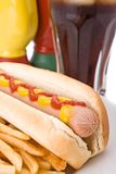 Fast food meal with hotdog Royalty Free Stock Photos
