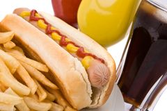Fast food meal with hotdog Stock Images