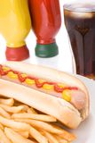 Fast food meal with hotdog Stock Image