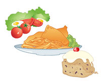 Fast food meal. An illustration of a fast food meal including salad fish and chips and an iced bun for dessert on a white background Stock Photography