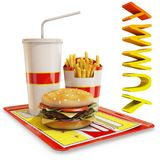 Fast food meal isolated with yummy text. 3d rendering Stock Photos