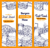 Fast food meal sketch banners set Royalty Free Stock Photos