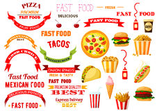Fast food meal vector isolated icons, ribbons set Stock Images