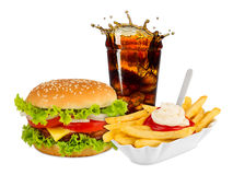 Fast food meal. On white background Stock Images