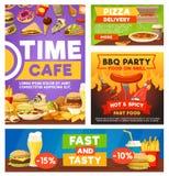 Fast food meals, bistro restaurant menu stock illustration