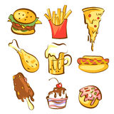 Fast food meals set. Comic cartoon style, brown contours, warm colours. Isolated vector objects. Royalty Free Stock Image