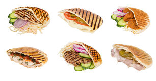Fast food meat with vegetables in pita Royalty Free Stock Images