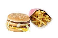 Fast food menu. Double burger and french fries Royalty Free Stock Photo